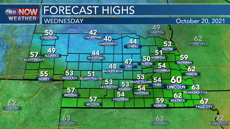 Temperatures will be in the 40s and 50s this afternoon with a gusty northwest wind.