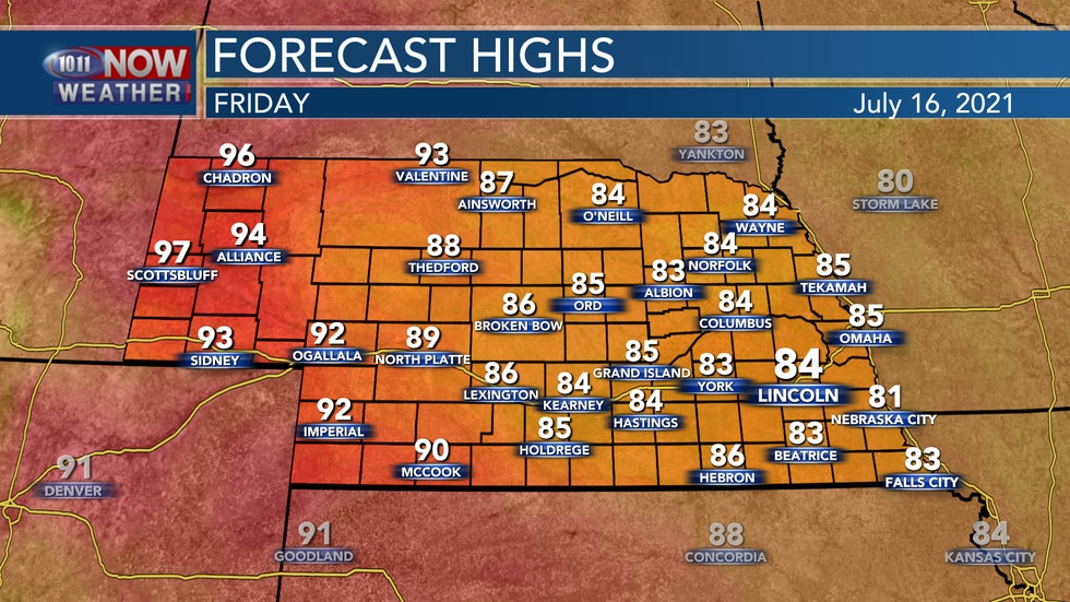 Temperatures should be a bit warmer by Friday afternoon with highs in the 80s for most of 10/11...