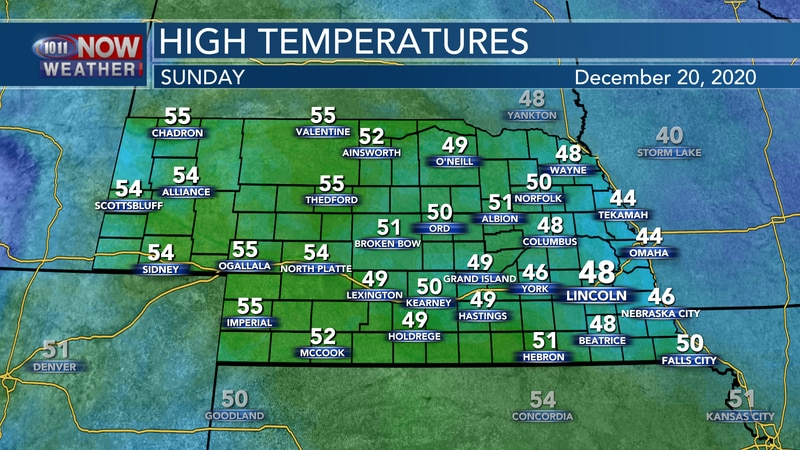 Mild December temperatures are expected for Sunday with temperatures in the 40s and 50s.