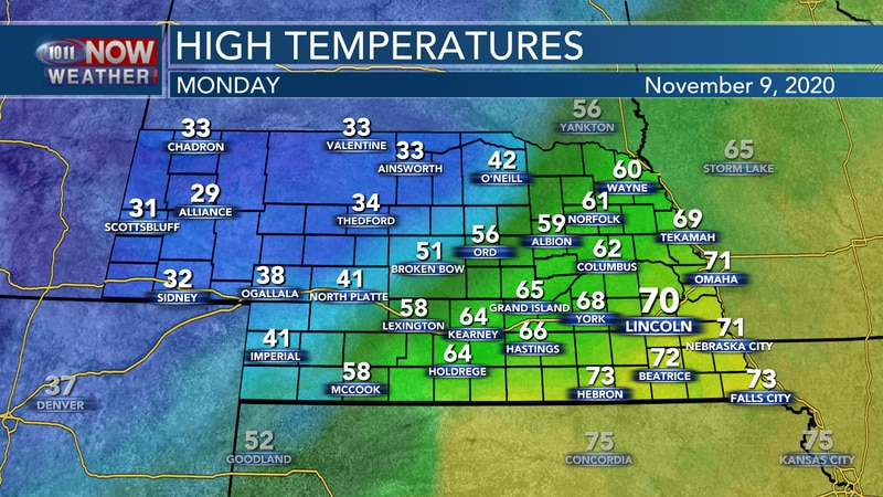 Daytime highs on Monday will range from the upper 20s to low 70s across the state as a strong...