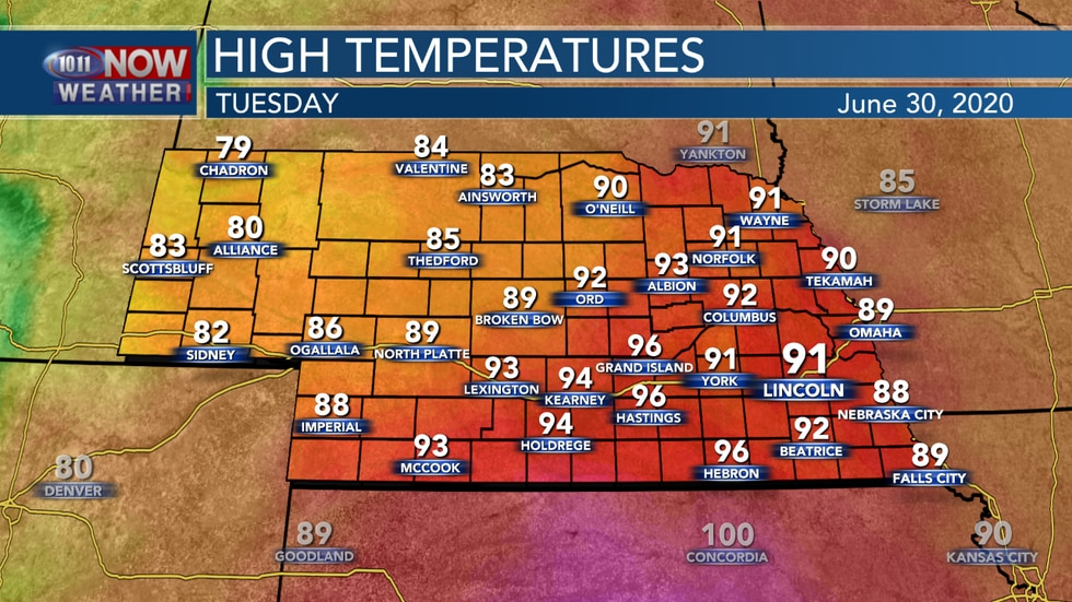 Highs will reach the upper 80s to mid 90s across the state on Tuesday.