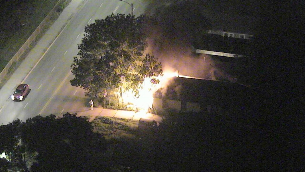 10/11 NOW's Skyview camera looking at a the beginning of a vacant house fire near 39th and...