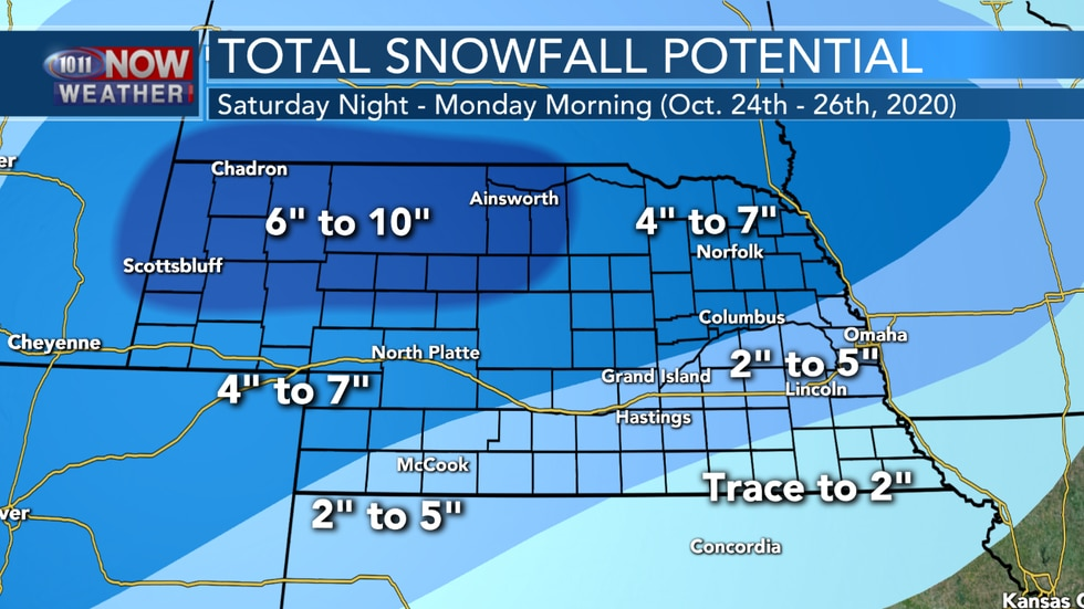 Moderate to heavy snow is expected across northern and western Nebraska with lighter amounts...