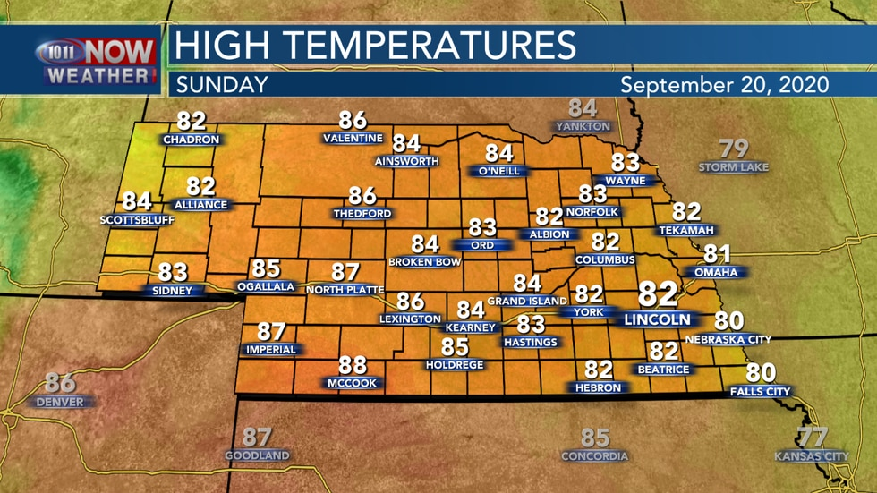 Temperatures into the 80s are expected for most of the state on Sunday to go with breezy and hazy conditions.