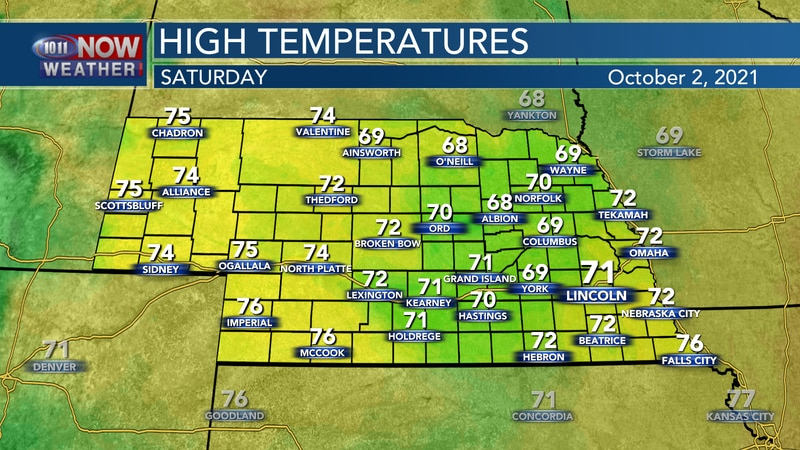 Temperatures should remain a few degrees below average by Saturday afternoon with highs in the...