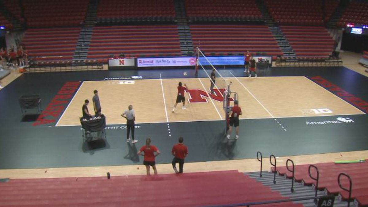 Nebraska volleyball unveils new black court.