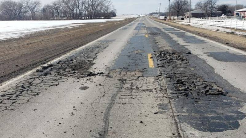 Nearly 400 feet of asphalt outside of Waverly has disintegrated following extreme swings in...