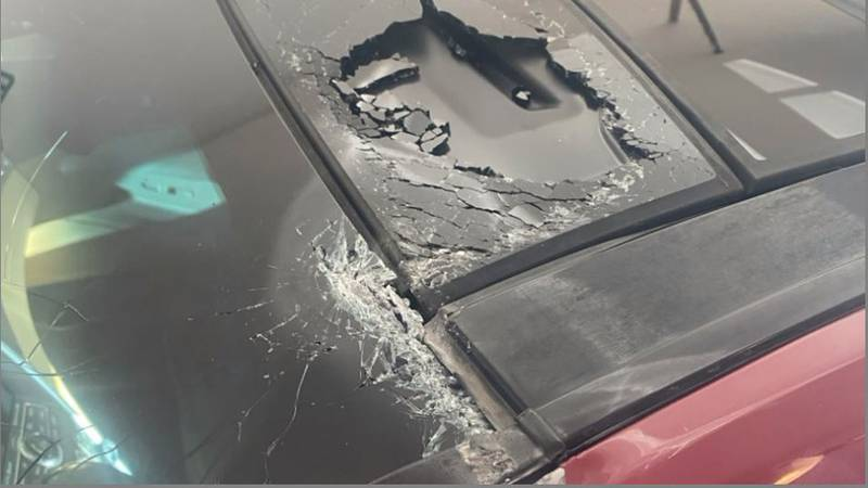 She said she was driving east down O Street, passing 27th when a concrete block hit the top of...