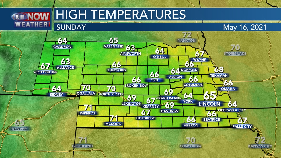Temperatures will be cooler on Sunday with areas of clouds and rain across the state. Look for...