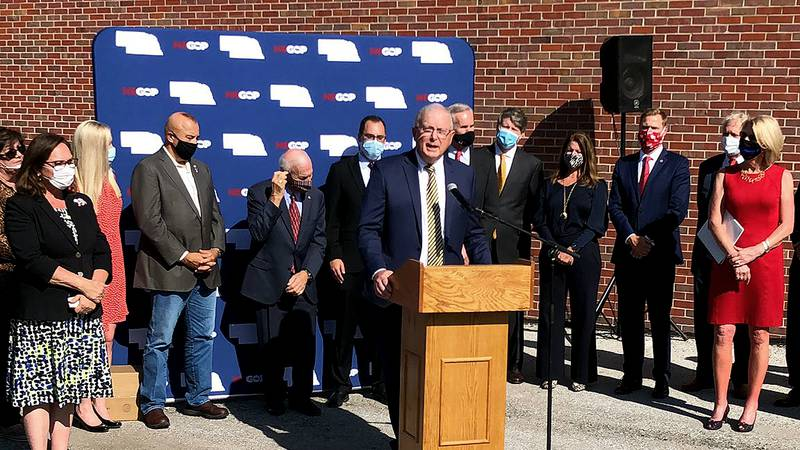 Nebraska Republican Party leaders and officials welcome Douglas County Attorney Don Kleine to...