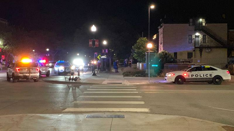 UNLPD & LPD at the scene of an incident outside the FIJI House at 14th & R Streets, late...