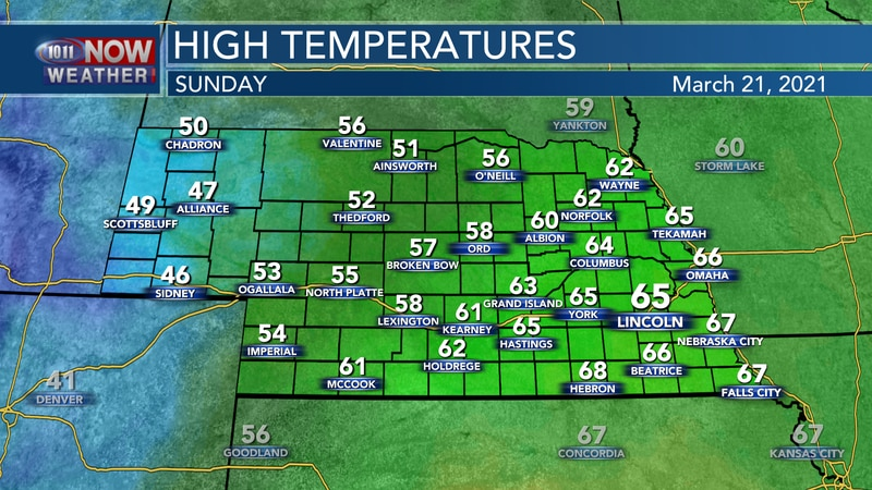Temperatures will range from the mid 40s to the mid 60s on Sunday as a slow moving cold front...