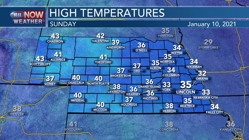 More clouds, patchy fog, and seasonal temperatures are expected on Sunday.