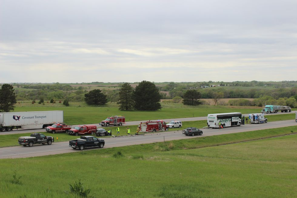 Lincoln Pius X bus hit by minivan on I-80 Wednesday.