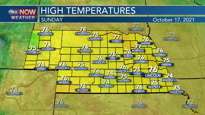 Temperatures by Sunday afternoon should reach into the mid 70s across the state.