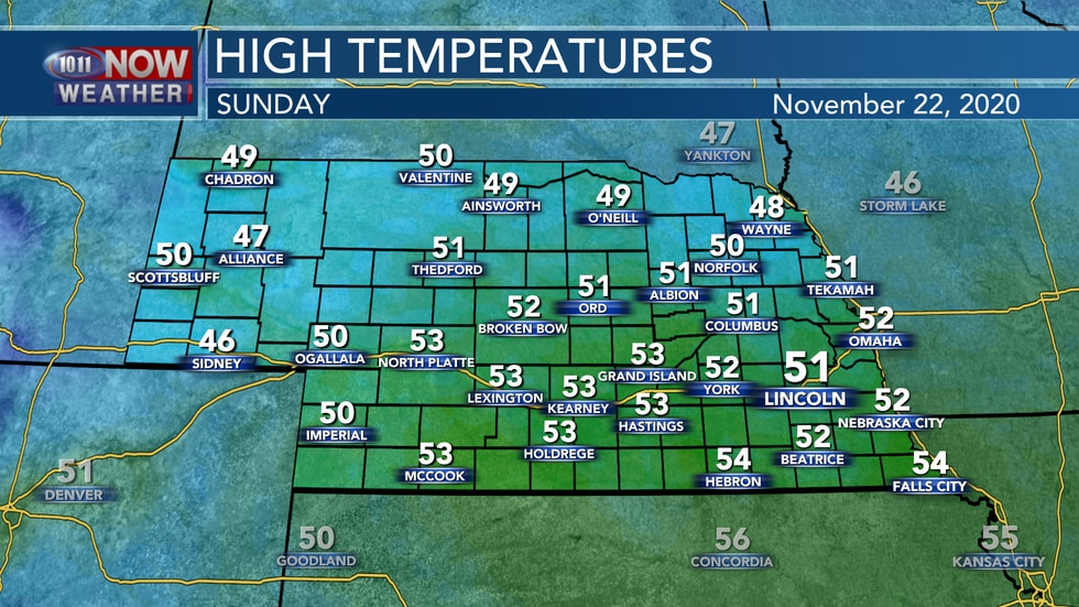 Sunny skies with temperatures reaching the upper 40s to low 50s are expected on Sunday.