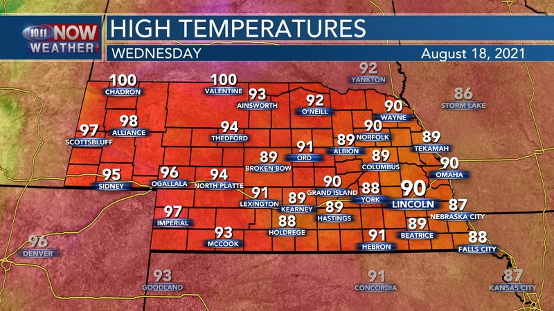 Look for another hot day on Wednesday with highs upper 80s, 90s, and lower 100s.