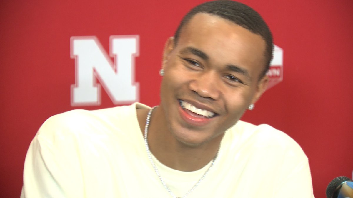 Bryce McGowens smiles during an interview at the University of Nebraska.