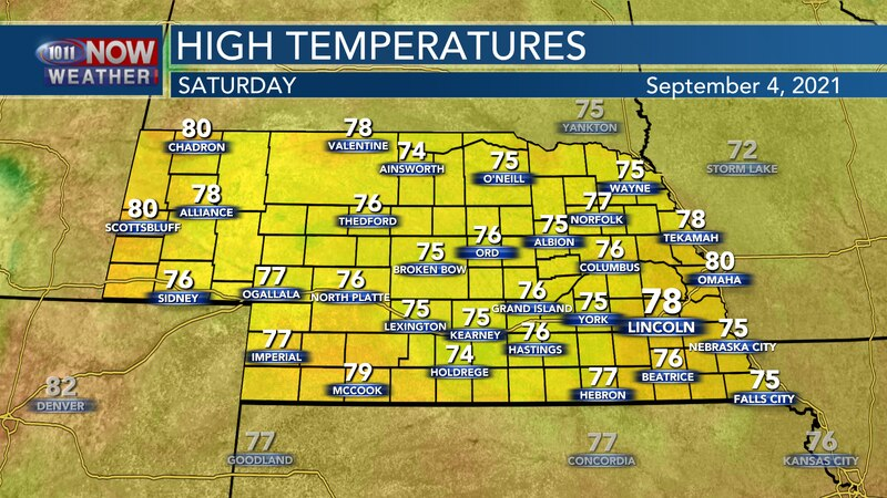 Look for highs in the mid to upper 70s for most on Saturday.