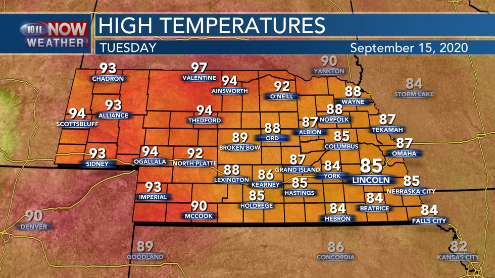Sunny, but hazy conditions expected on Tuesday with highs in the mid 80s to mid 90s across the state.