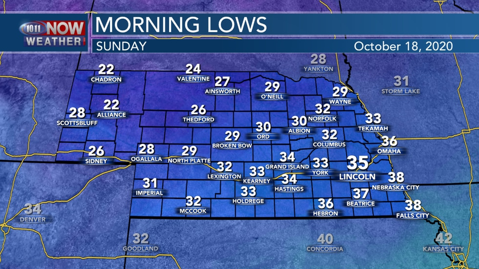Temperatures into Sunday morning will bottom out anywhere from the lower 20s to middle 30s for most of the state.