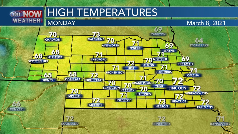 Temperatures will stay well above average with highs in the upper 60s to low 70s on Monday.
