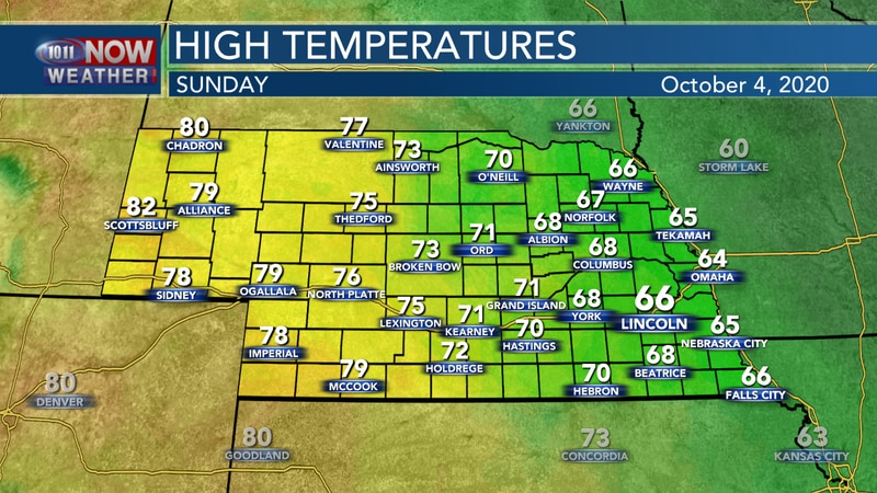 Temperatures should be fairly nice on Sunday with highs in the 60s and 70s for most of the...