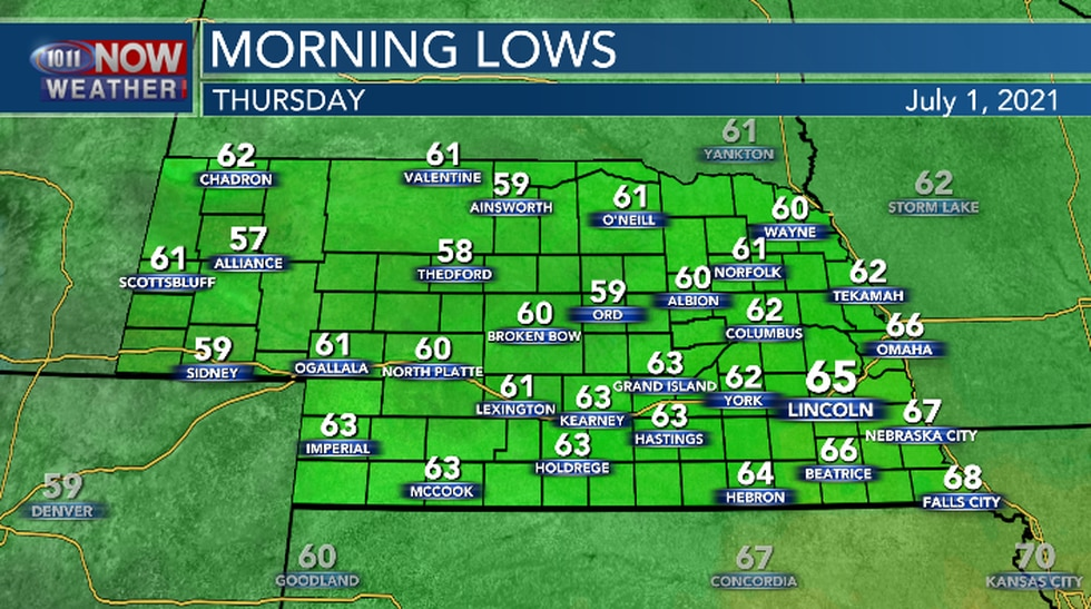 Seasonal overnight low temperatures expected.