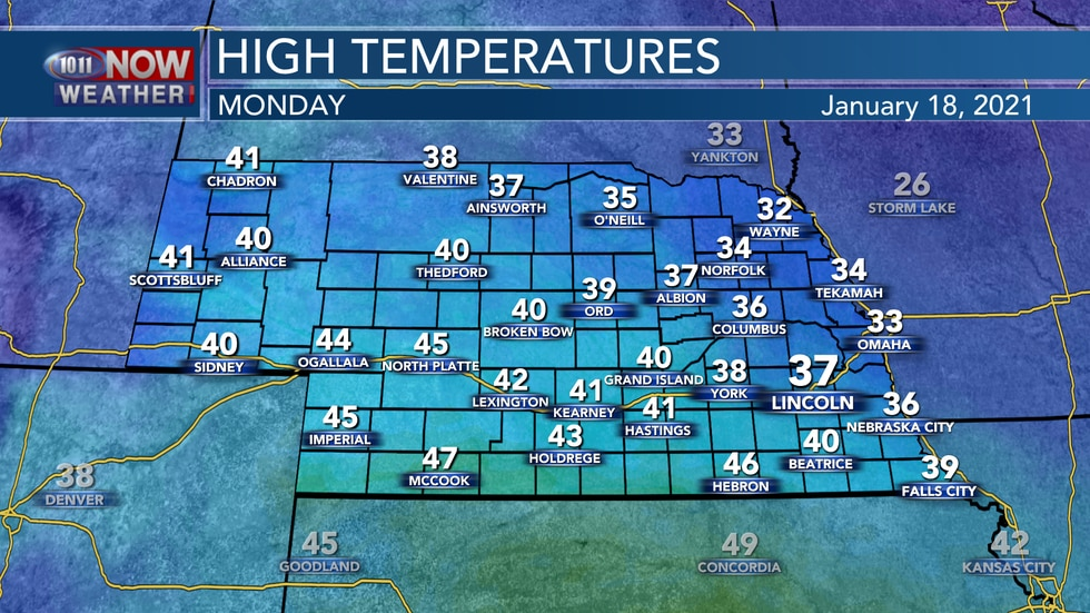 Temperatures will range from the low 30s to mid 40s on Monday with areas of clouds and light...