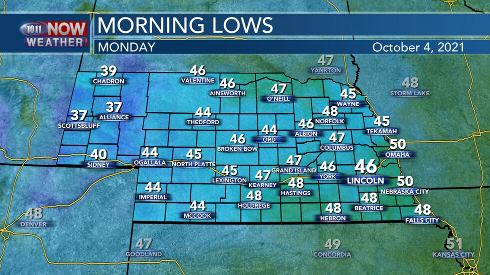 Look for morning lows in the 30s to 40s for most of the state on Monday.