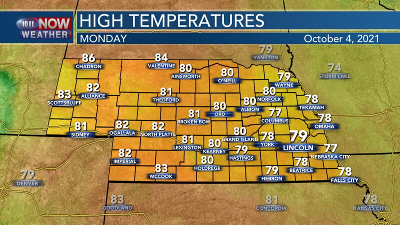 Temperatures will stay above average by Monday afternoon with highs in the upper 70s to low 80s.