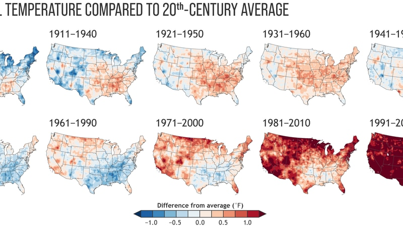 Annual U.S. temperature compared to the 20th-century average for each U.S. Climate Normals...