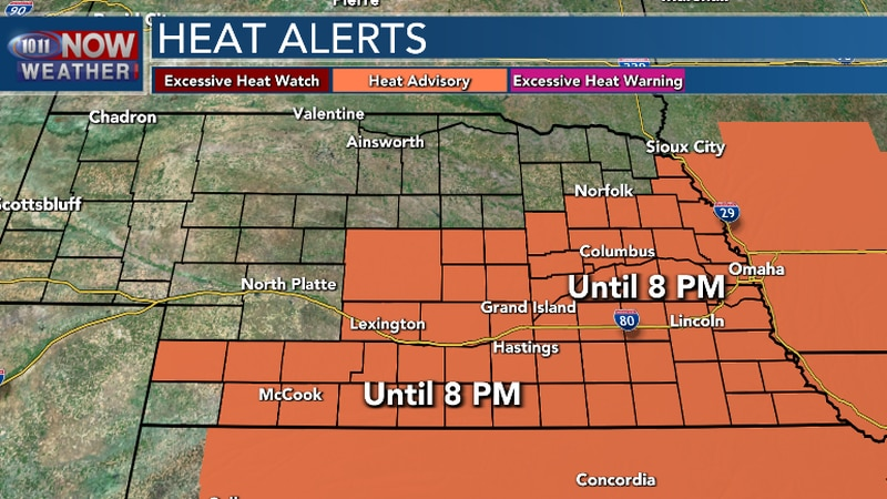 Triple digit heat this afternoon with heat indices from 105 to 110