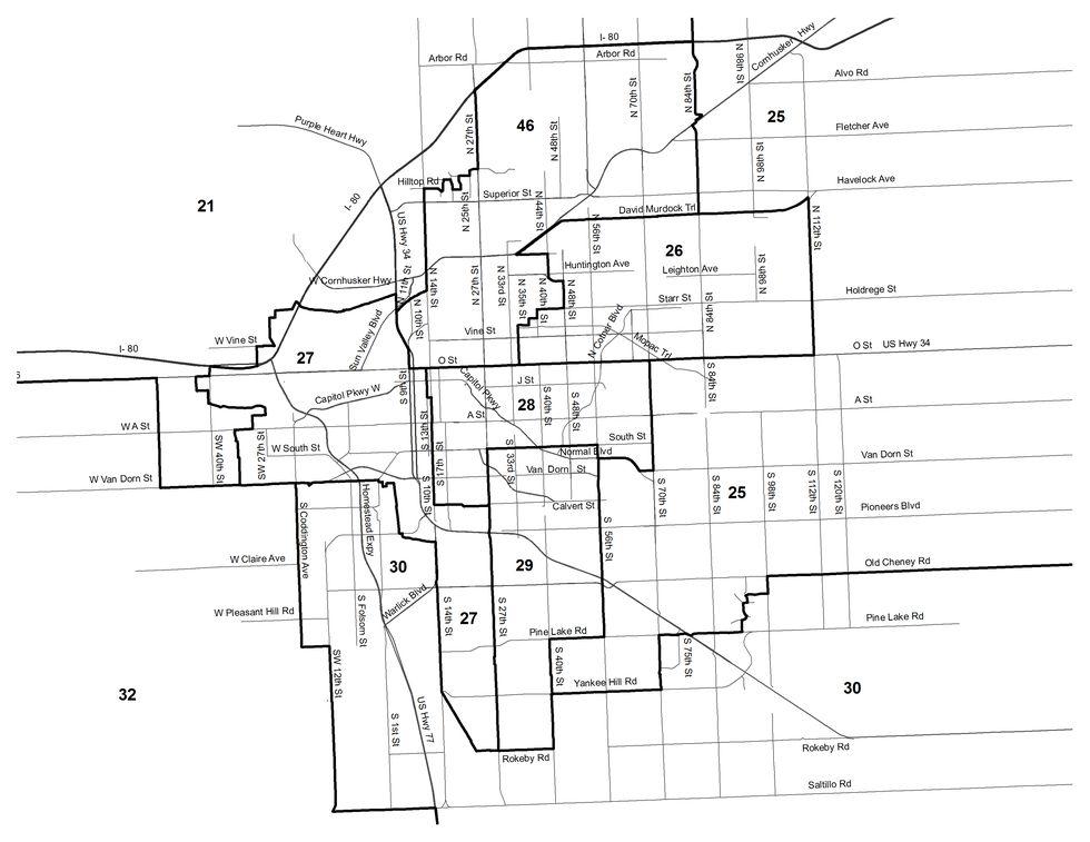 Lincoln, NE Legislative District Map