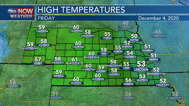 Mild temperatures in the low 50s to low 60s are expected for Friday.