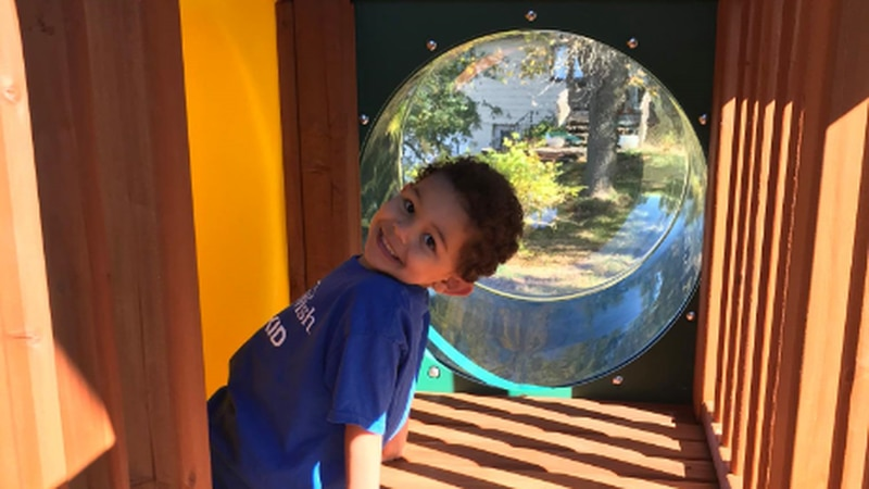 Jaxen got his very own playground from Make a Wish Nebraska.