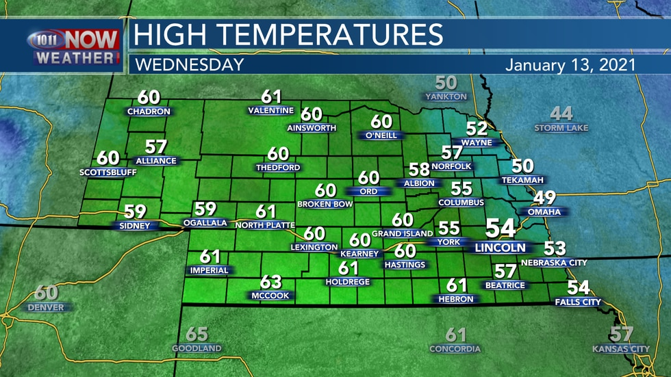 Temperatures will peak on Wednesday with highs in the 50s and low 60s.