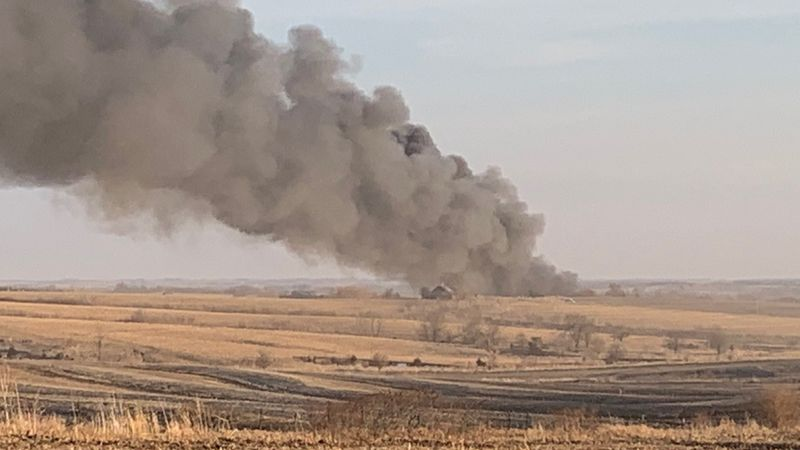 The scene of a large fire in northwestern Otoe County late Saturday afternoon.