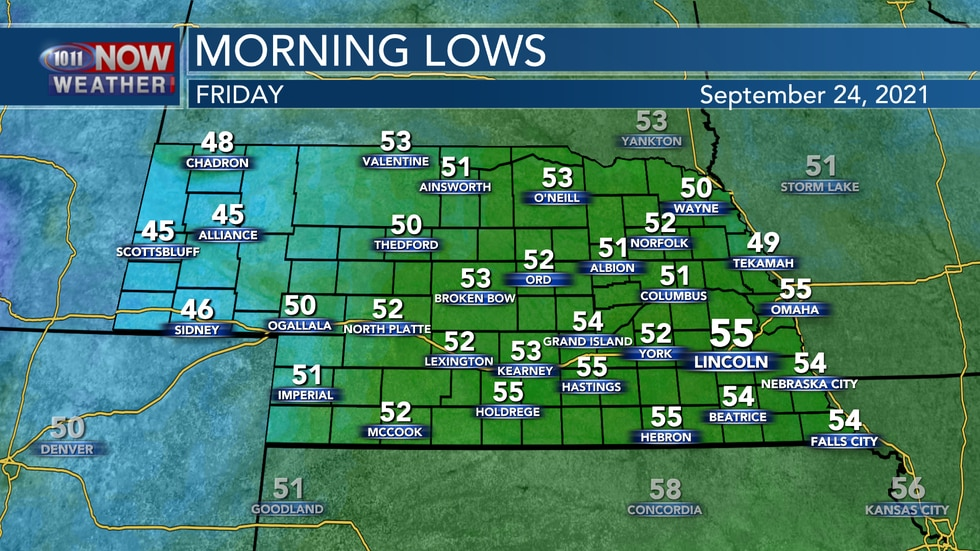 Look for lows in the low to mid 50s on Friday morning.