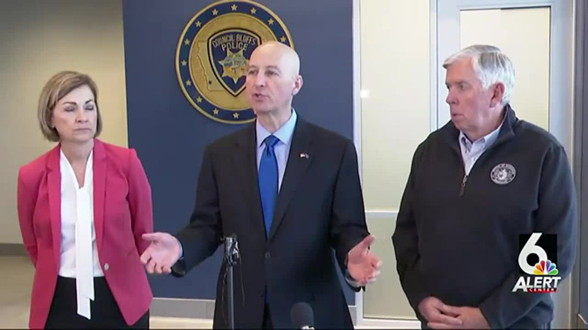 The governors of Nebraska, Iowa, and Missouri met in Council Bluffs on Thursday, April 8, 2021,...