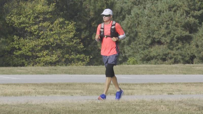 Jordan Moon, who is running from San Francisco to New York to raise awareness for brain and...