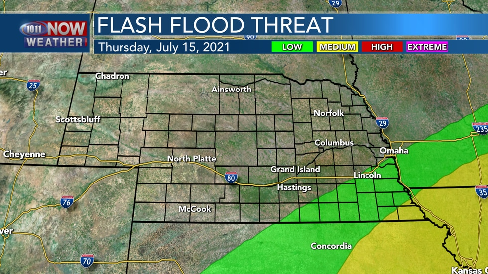 Morning and afternoon storms in southeastern Nebraska could produce some areas of heavy rain...