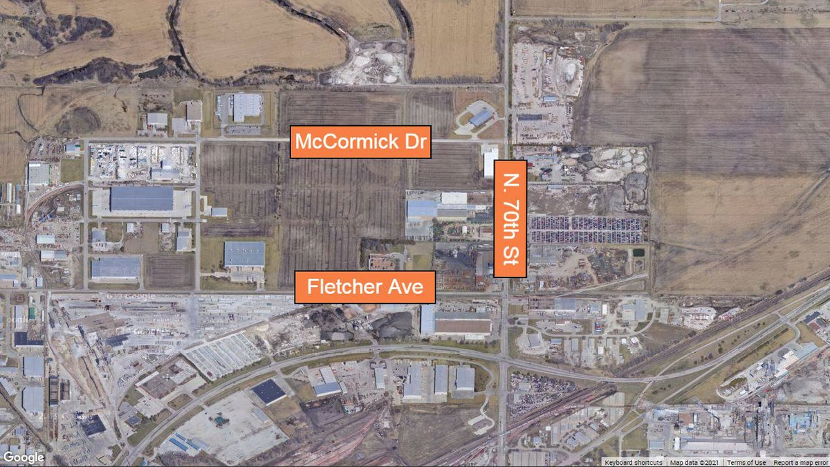 North 70th Street between Fletcher Avenue and McCormick Drive will be closed for pavement...