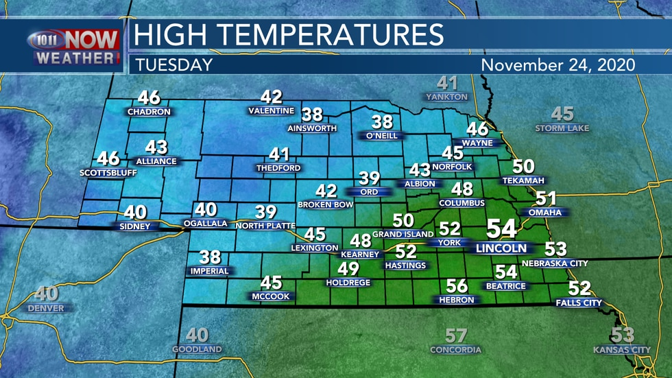 Temperatures will actually warm into the lower and middle 50s on Tuesday for south central and...