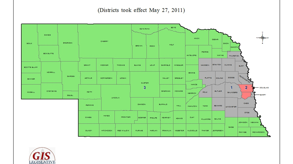 A map of current districts.
