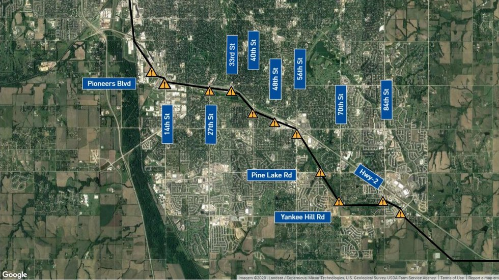 The study looked at all of these intersections on the tracks along Highway 2. Most would need...