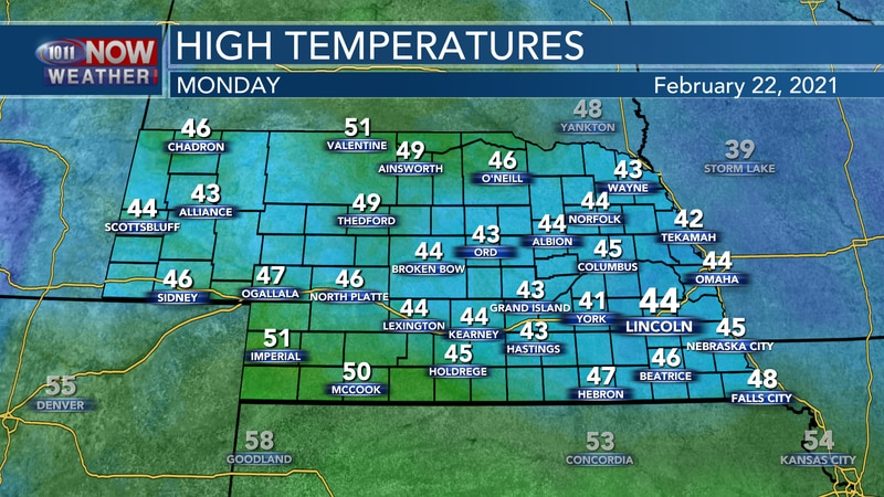 Warmer weather is forecast for Monday with highs climbing into the lower and middle 40s for...