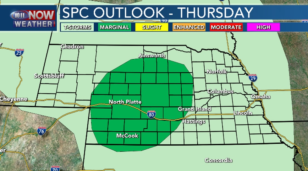 Isolated severe thunderstorms possible Thursday afternoon and evening.