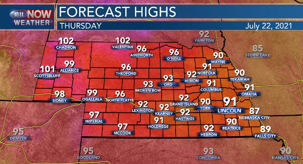 Lower 90s for central and eastern Nebraska with upper 90s to around 100 in the west.