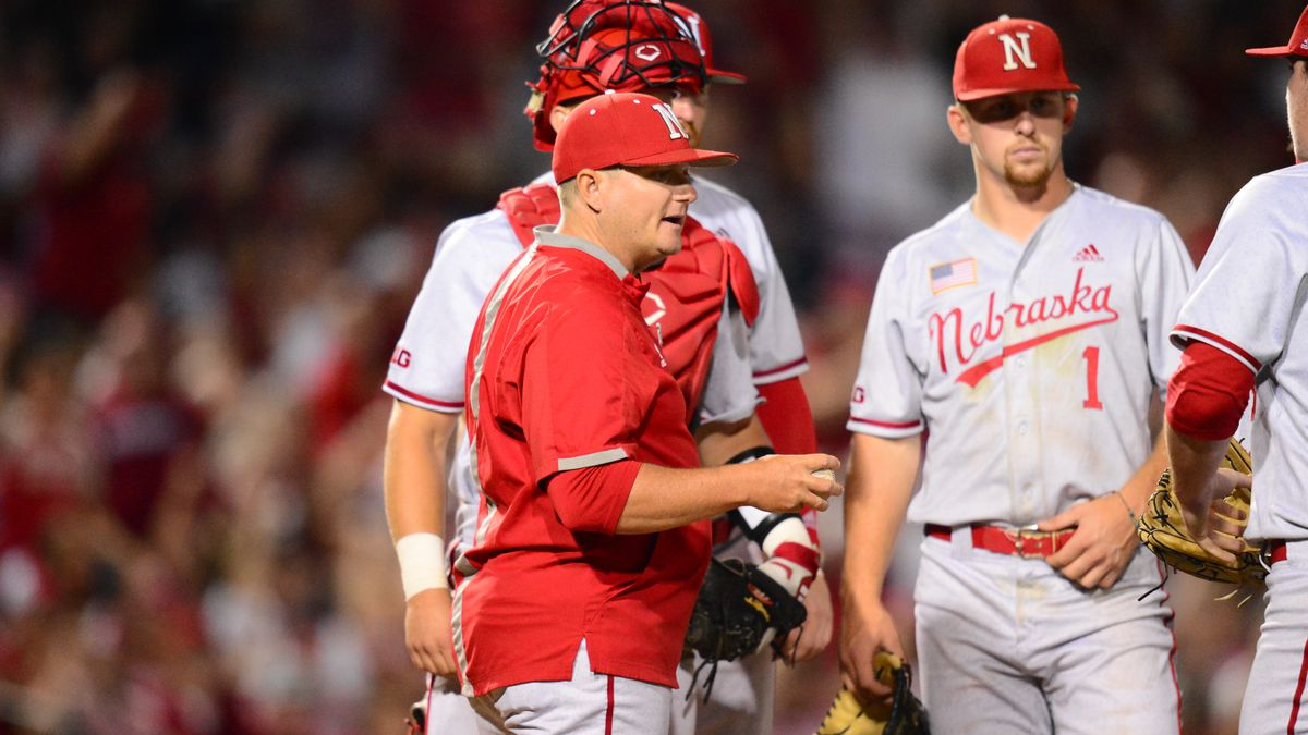Will Bolt makes a pitching change during the Nebraska Arkansas game Saturday night.